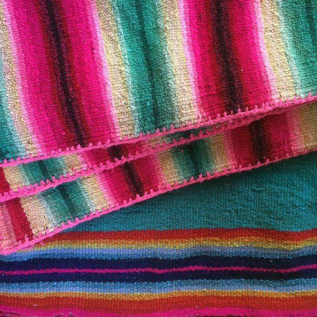 Colorful handwoven natural fiber blankets from Peru, Bolivia, Mexico, and Guatemala. These grow only more beautiful with time! http://lasninastextiles.com/product-category/textiles-3/