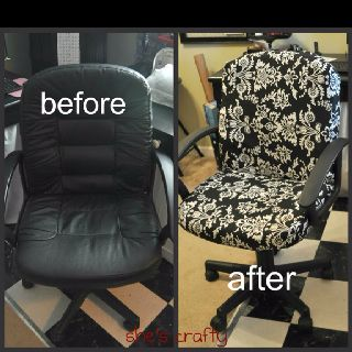 Idea *********** Cover Office Chair   We Have This Exact Chair. Must  Remember To Do This One Day. Make It Into A Slip Cover So It Can Be Washed  Too?
