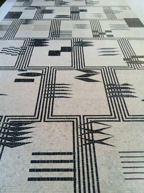 mosaic tiles in black and white