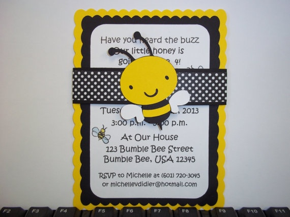 Bumble Bee Invitations Bee Invitation Birthday by TimberlysDesigns, $10.00