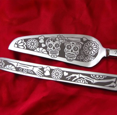 Day of the Dead Wedding Cake Server and Knife Set, Personalized Sugar Skull Gift