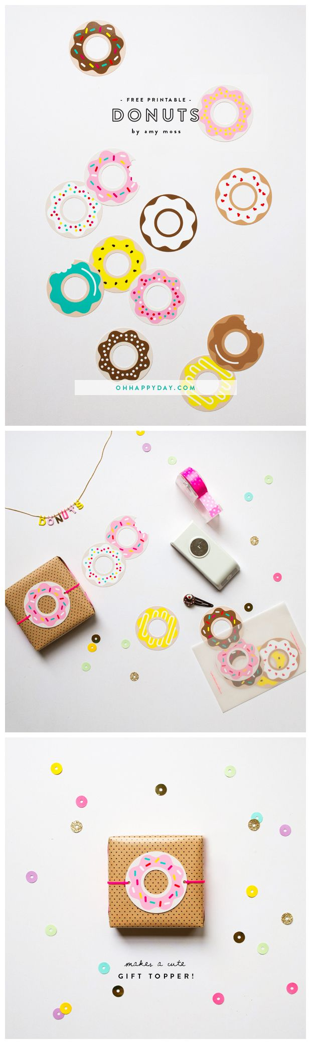 Donut printables by Amy Moss for Oh Happy Day