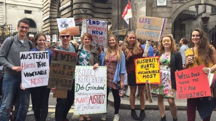 Austerity March in London, June 2015. Linked webpage includes photo and quotes from Library Campaign