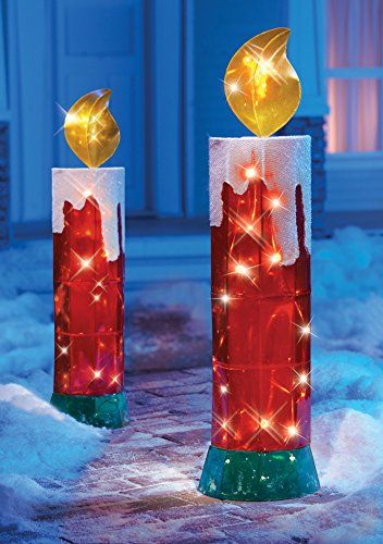 47 best outdoor christmas decorations images on pinterest giant lighted candle outdoor christmas decoration this impressive lighted candle stands over 3 feet tall and features clear lights that sparkle and shine aloadofball Gallery