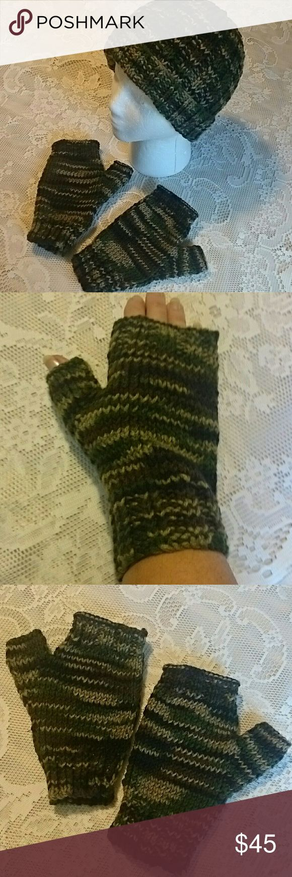 Fingerless gloves hunting - Selling This Hand Knit Camo Hat Fingerless Glove Hunting On Poshmark My Username Is