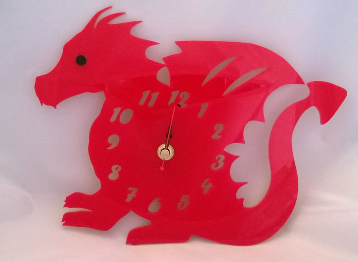 Handmade acrylic laser cut 'Dylan the Dragon' clock - Designed and laser cut in Pembrokeshire, South West Wales!