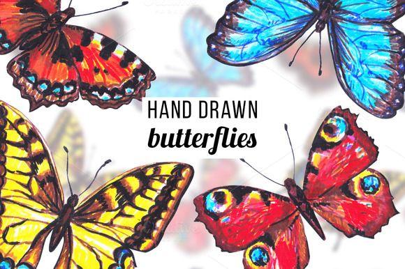 Hand drawn butterflies by Svetlana Kazakova on @creativemarket