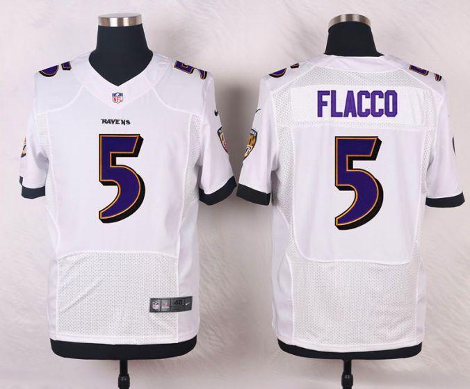 Men Baltimore Ravens 5 Joe Flacco White Elite Nike NFL Jerseys ... dc20eda58