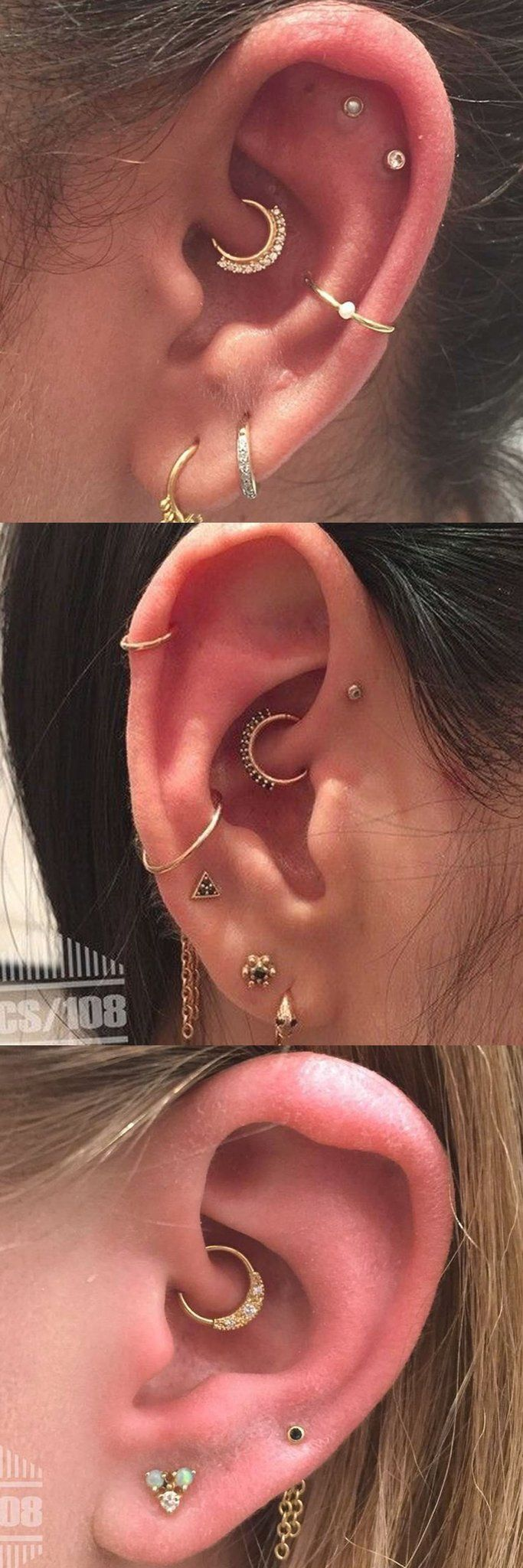 Delicate Ear Piercing Ideas Combinations - Rook Piercing Jewelry - Gold Cartilage Rings - Conch Hoop at MyBodiArt.com #Piercings