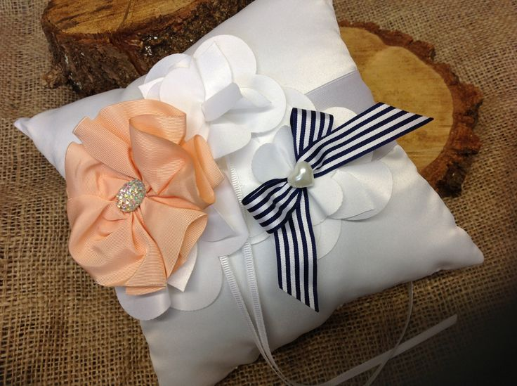 Handmade bespoke ring cushion from Lilly Dilly's x #bespoke #wedding #rings #ring bearer #ring cushion #stripes #flower #satin #Lilly Dilly's #pageboy #accessories