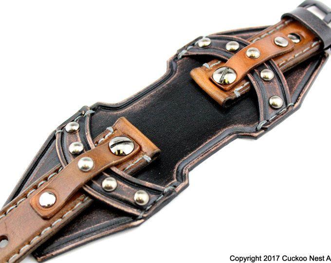 Medievale in pelle su misura orologio bracciale, polsino in pelle per il tuo orologio, cinturino di cuoio su ordinazione,