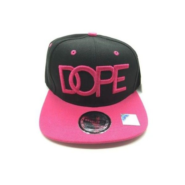 Boy/Girl  Hat BLACK/PINK  #DOPE FLAT BILL SNAPBACK CAP HIP HOP... ❤ liked on Polyvore featuring accessories, hats, baseball hats, pink snapback, flat bill snapback hats, baseball caps and baseball cap hats