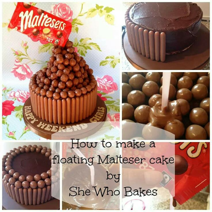 Floating Malteaser cake. Instructions at http://brittwhyatt.tumblr.com/post/89881245835/how-to-floating-malteser-cake