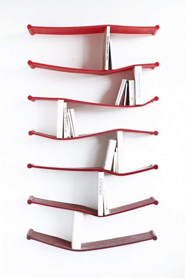 Rubber bookshelves by Luke Hart.