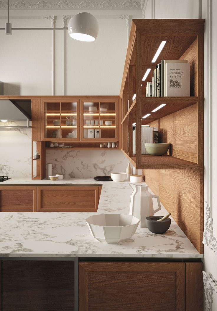 Snaidero HERITAGE combination of Elm wood cabinetry and Carrara marble countertop projects an elegant timeless appeal #SnaideroUSA | Iosa Ghini Design