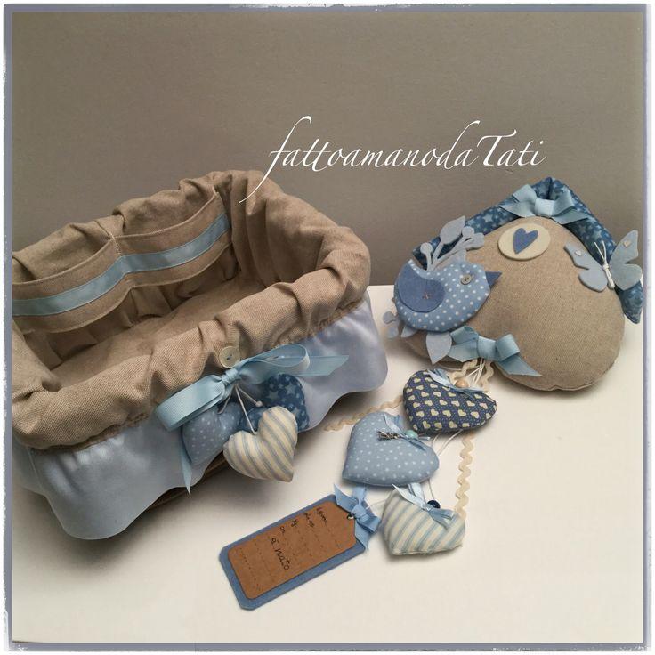 Fiocco nascita e cestino porta oggetti by fattoamanodaTati