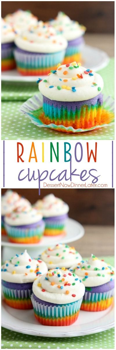 These Rainbow Cupcakes are made with a simple boxed white cake mix, colored, and layered to make a rainbow, with whipped cream cheese frosting on top! on MyRecipeMagic.com