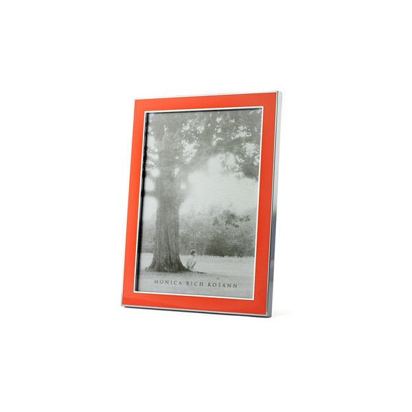 Monica Rich Kosann Silver Plate & Enamel Frame (125 CAD) ❤ liked on Polyvore featuring home, home decor, frames, orange, silver plated frames, enamel frames, orange picture frames, orange home decor and silver plated picture frames