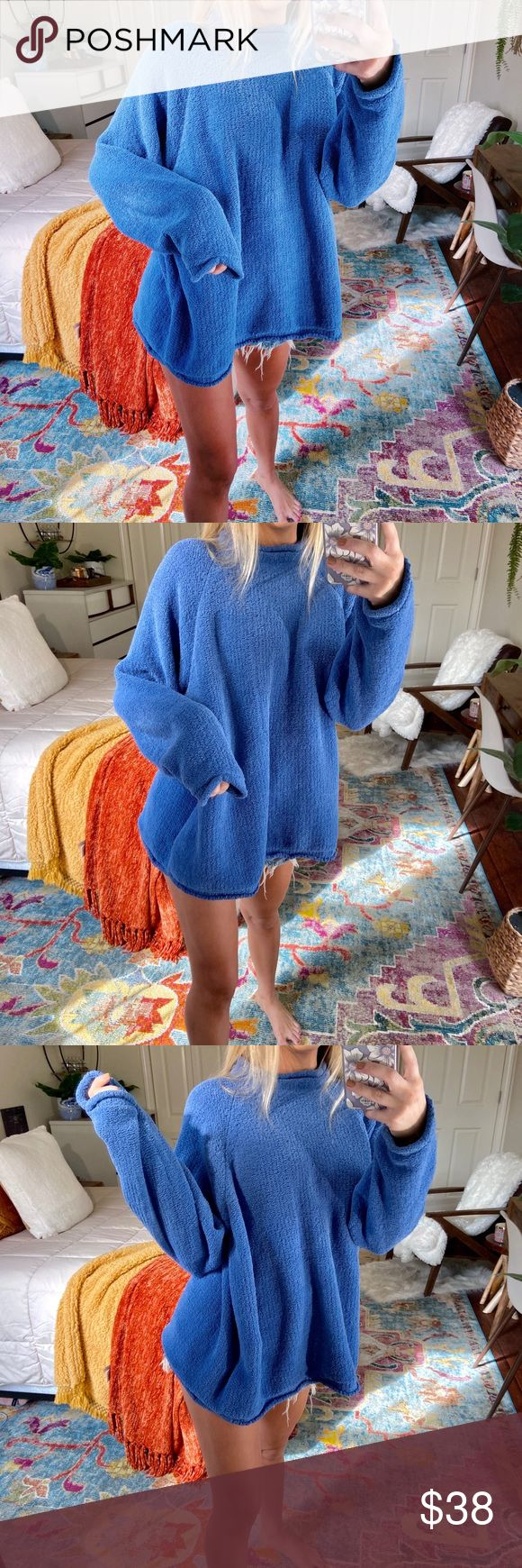 blue ultra plush oversized knit descriptions coming soon! ask me any questions in the mean time ✨ ➳ tags • boho, beachy, trendy, dainty, cozy, c...