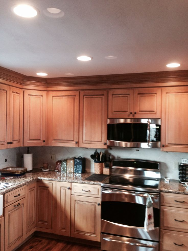 Maple cabinets with quartz countertops | Kitchen remodels ... on Countertops That Go With Maple Cabinets  id=43297