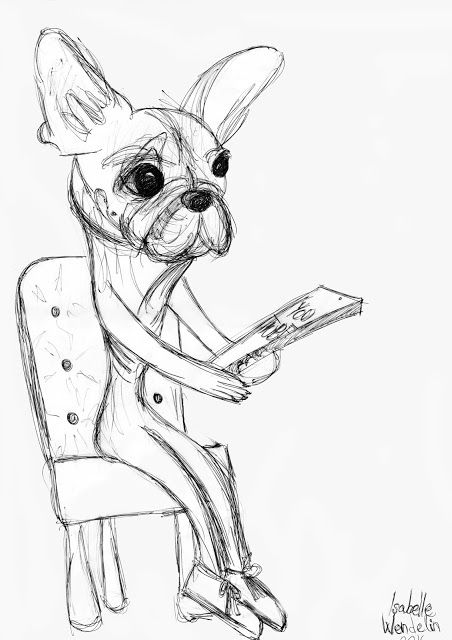 French bulldog with phone