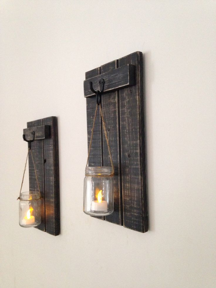 "Rustic Wall Sconce, Wooden Candle Holder, Mason Jar Candle Holder, Wooden Wall Sconce, Rustic Decor, Wall Sconce, 7""x15"" Set of 2 by CoveDecor on Etsy https://www.etsy.com/ca/listing/267270248/rustic-wall-sconce-wooden-candle-holder"