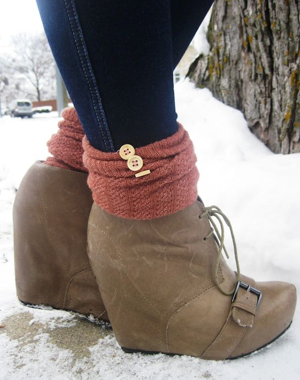 wedge booties + socks!