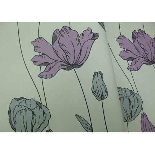Parati floreale effetto finto tessuto fondo fango e fiore grigio argento e prugna 13104 Contempora