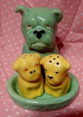 Vintage Salt & Pepper shakers w Mustard Pot condiment set BULLDOG Puppies Dog