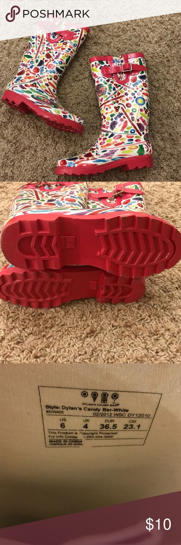 Dylan's candy bar rain boots Excellent condition! No Damage or extreme signs of wear! $5 ITEMS MUST Be BUNDLED!!   I will NOT SHIP IF NOT BUNDLED!! ❤️😊🍍 dylans candy bat Shoes Winter & Rain Boots