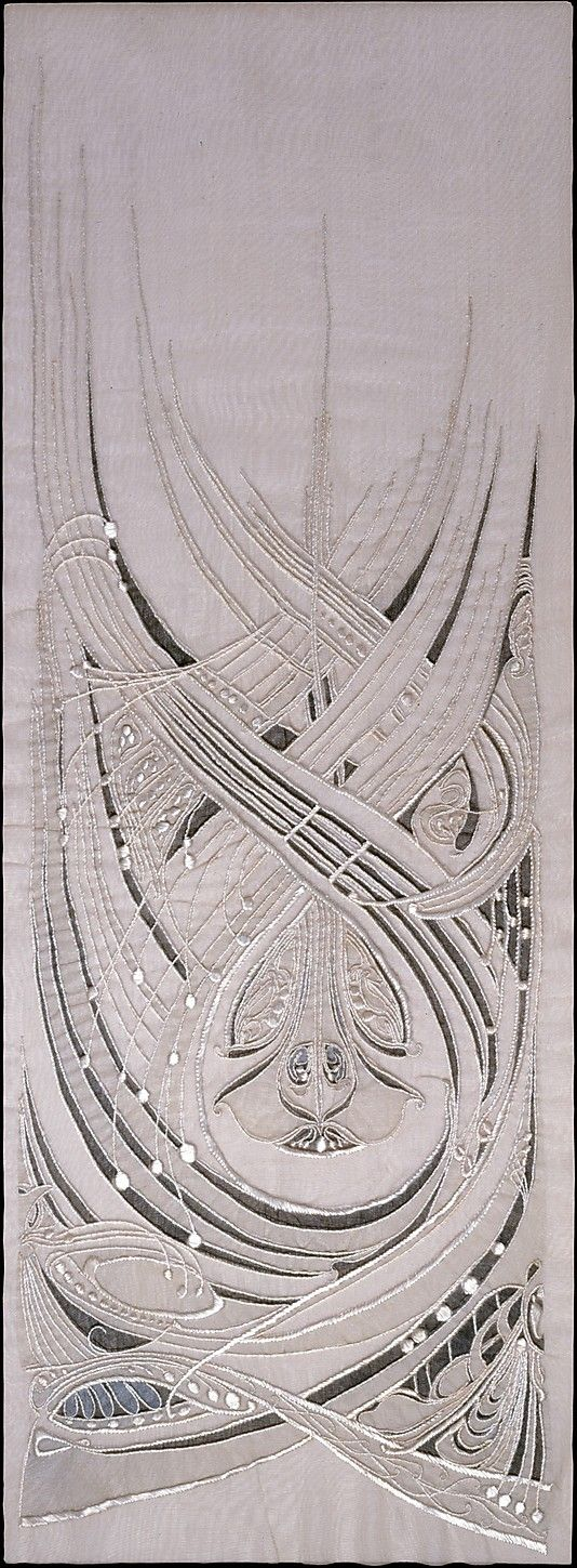 Dress Panel by Hector Guimard, ca. 1900. Guimard's  designs were a unique version of Art Nouveau, which developed in part as a European reaction to a mechanized world brought on by the Industrial Revolution and in part to the then-outmoded historical revivalist style prevalent during the second half of the nineteenth century. Art Nouveau embraced a return to natural, organic forms, incorporating sensuous curves and elaborate flourishes.