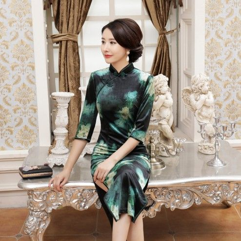 Green Velour Half Sleeve Tea Length Cheongsam Floral Evening Dress