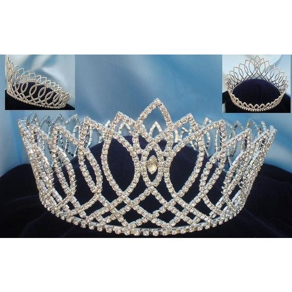Beauty Pageant Full Round Rhinestone Crown (£89) ❤ liked on Polyvore featuring accessories, hair accessories, rhinestone hair accessories, crown hair accessories and rhinestone crown