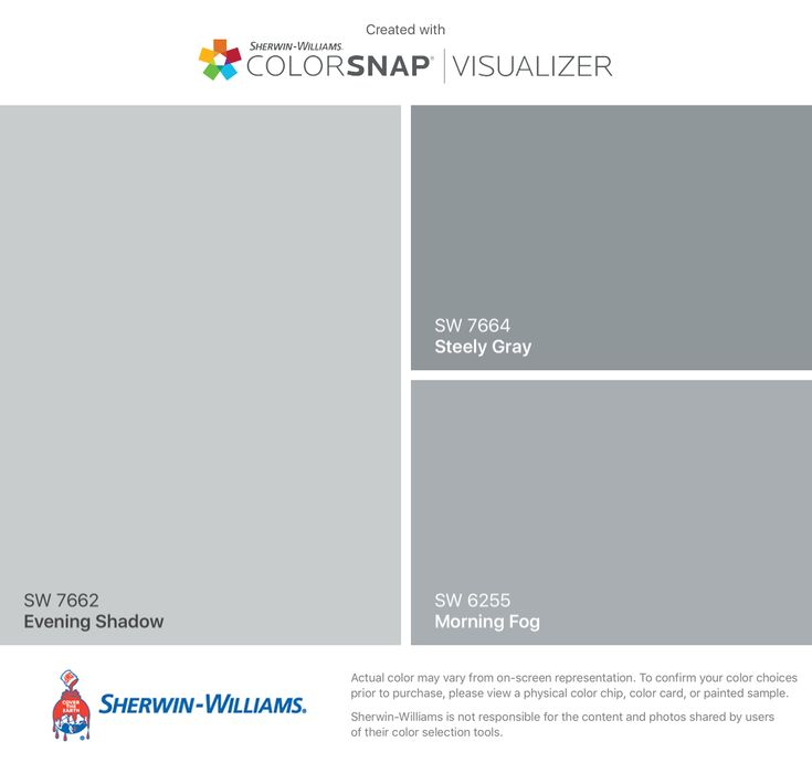 I found these colors with ColorSnap® Visualizer for iPhone by Sherwin-Williams: Evening Shadow (SW 7662), Steely Gray (SW 7664), Morning Fog (SW 6255).