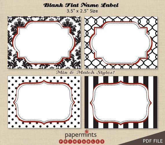 printable blank name labels for dessert table holiday tag thank you mailing labels name. Black Bedroom Furniture Sets. Home Design Ideas