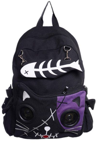 Cat with Speaker Eyes Black & Purple Backpack by Banned