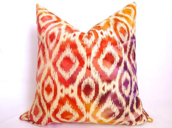 Red And Gold Decorative Pillow : Batik Ikat Decorative Pillow - Orange Red Gold Purple - 18 inch - Ikat Pillow - Designer Pillow ...
