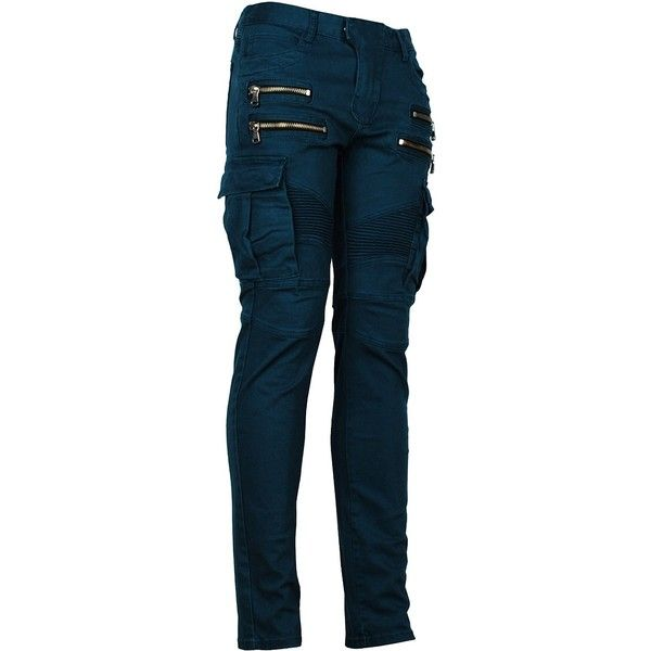 Angel Cola Men's Biker Slim Distressed Washed Cotton Cargo Jeans ($60) ❤ liked on Polyvore featuring men's fashion, men's clothing, men's jeans, mens slim cut jeans, mens cotton jeans, mens ripped jeans, mens biker jeans and mens cargo jeans