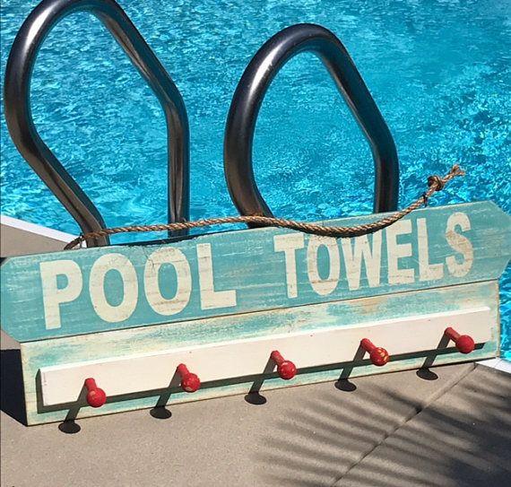 Swimming Pool Decor Backyard Decor Outdoor Signs Pool Towel