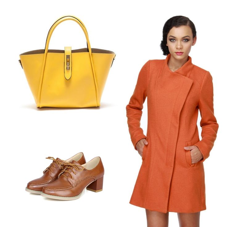 #OOTD: Dare to combine your orange coat whit this #Magotti yellow bag! 100% leather!
