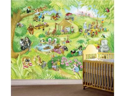 """For the animal lover's room here is our mural """"Leonard at the Zoo"""". A wallpaper mural by Muralunique.com. Original painting from Johanne Pépin."""