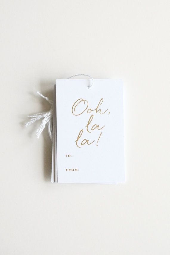 Gold Foil Gift Tags Ooh la la by inhauspress on Etsy