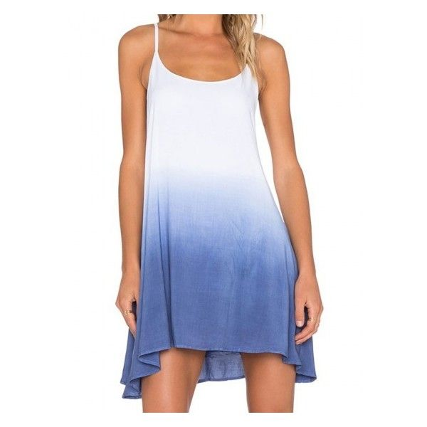 Blue Dip Dye A-line Cami Dress ($15) ❤ liked on Polyvore featuring dresses, blue cami, blue dip dye dress, blue day dress, blue camisole and dip dyed dress