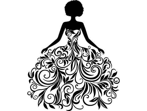Clipart Transparent PNG  Digital Scrapbook Wedding Dress Silhouettes Printable Designers Resources
