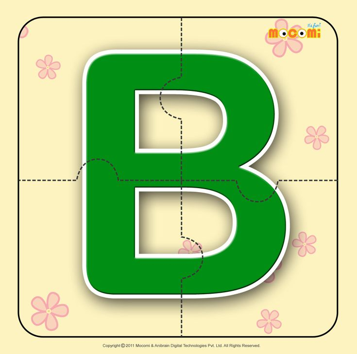 Alphabet B - Easy online, free to download, #alphabet #jigsawpuzzles tied to lesson plans and printable activities for preschoolers, kindergarden and early elementary. More such jigsaw puzzlese article at http://mocomi.com/fun/arts-crafts/printables/jigsaw-puzzles/