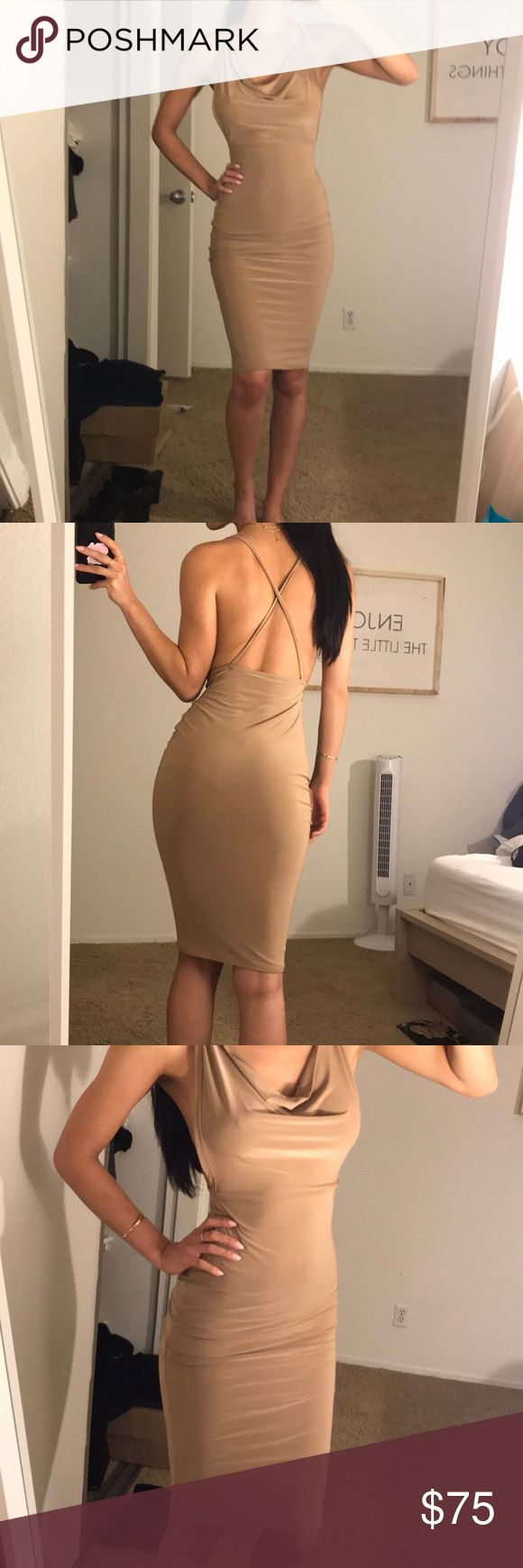 Nude Bodycon Criss Cross Open Back Dress This dress is the perfect date night or girls night out dress. Worn on Dash Dolls! Front draping which helps if you don't want to wear a bra! Size UK 6 Mishka Dresses