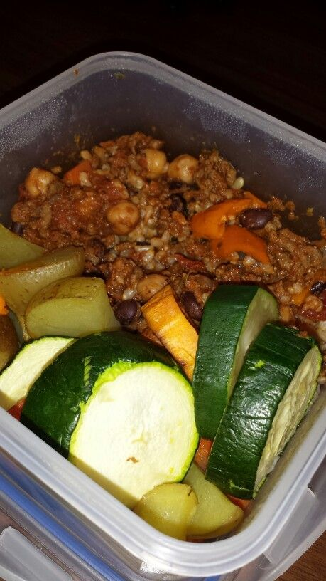 Chickpea and blackbean chili on brown rice with roasted zucchini,  potatoes, yam and carrots- wild rose detox cleanse (D-Tox)