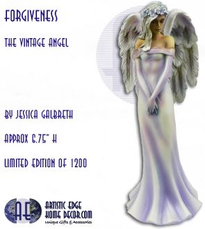 "Forgiveness - The Vintage Angel  By artist Jessica Galbreth  Series: The Vintage Angel  H: 6.75"" Approx  Hand Painted Cold Cast Resin  Limited Edition of 1200  Comes in Gift Box"