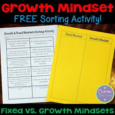 Growth vs. Fixed Mindsets... A FREE Sorting Activity!