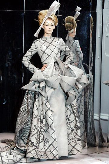 An origami covered piece of Japanese porcelain dress created by John Galliano for Christian Dior.
